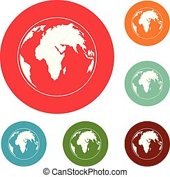 Round planet icons circle set vector