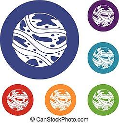 Round planet icons set