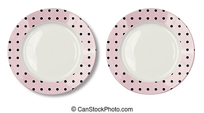 Round plate with pink border and clipping path included
