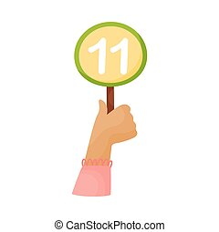 Round plate with the number 11 in hand. Vector illustration on a white background.