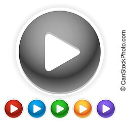 Round play button, play icon in 6 colors with shadow. Vector.