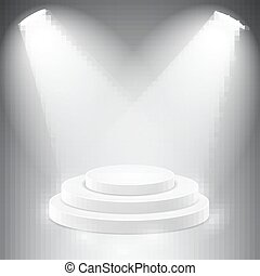 Round podium illuminated by spotlights.