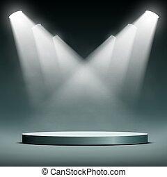 Round podium illuminated spotlights.