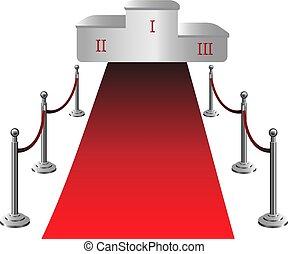 Round podium with red carpet.