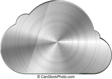 Round polished bright glossy metal cloud icon isolated on white