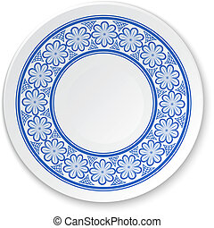 Round porcelain plate on a painting of a blue flowers on a white