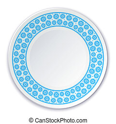 Round porcelain plate on a painting of a blue snowflakes on a wh