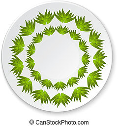 Round porcelain plate on a painting of a green leaf on a white b