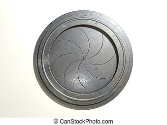 A futuristic round mechanical portal with a sphincter type mechanism on an isolated white background