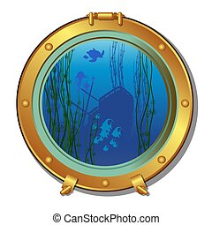 Round porthole of a submarine with views of the sunken ship and marine life isolated on white background. Vector cartoon close-up illustration.