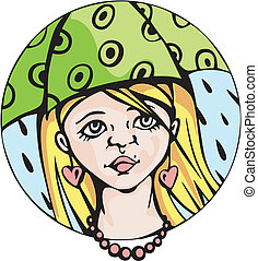 Round portrait of young cute girl under umbrella