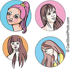 Round portraits of young cute women