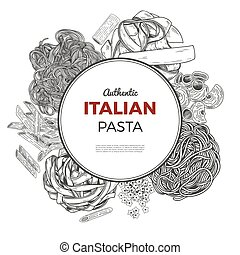 Round poster with hand drawn pasta.