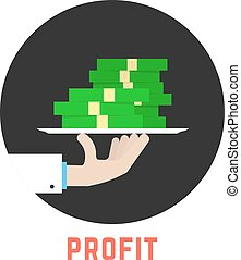 round profit logo with hand