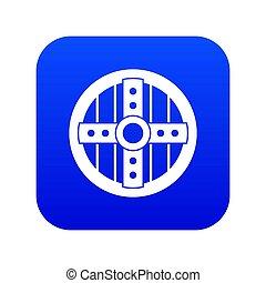 Round protective shield icon digital blue