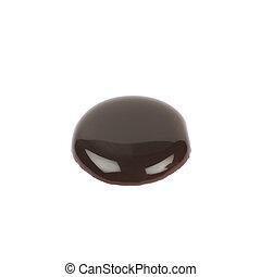 Round puddle of hot chocolate isolated
