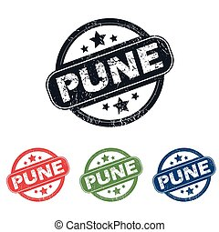 Round Pune city stamp set - Set of four stamps with name...