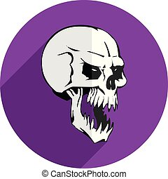 Round purple Flat icon for website, aggressive gray skull, on white background,