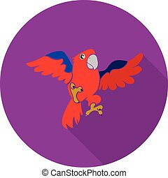 Round purple Flat icon, red parrot in flight, on white background,