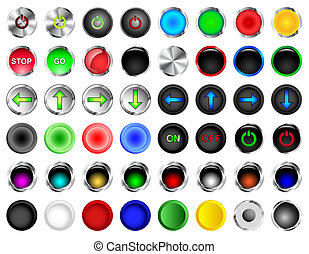 Round Push Button Vectors - Round push buttons in different...