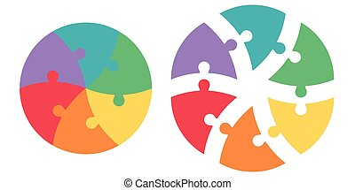 Round puzzle of triangular colored sectors, vector template infographics puzzle, circle puzzle infographic arrows, cycle diagram, jigsaw