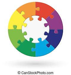round puzzle with options - round puzzle with base and eight...