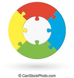round puzzle with options - round puzzle with base and four...