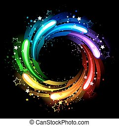 round rainbow banner painted sparks , stars and bright paint on a black background .