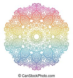 Round rainbow gradient mandala background. Creative vector illustration