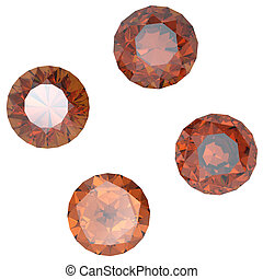 Round rauh topaz isolated on white background. Gemstone