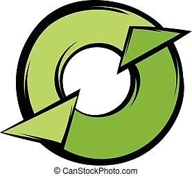Round recycle icon cartoon