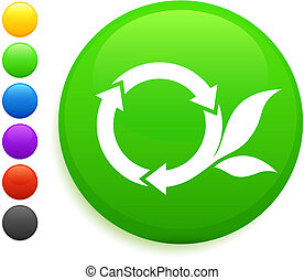 round recycle icon on round internet button