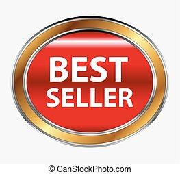 Round red best seller button