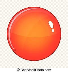 Round red button icon, cartoon style