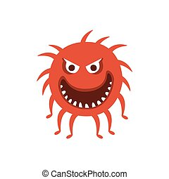 Round Red Hairy Aggressive Malignant Bacteria Monster With Sharp Teeth And Many Legs Cartoon Vector Illustration