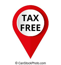 Round red icon tax free, Vector illustration.