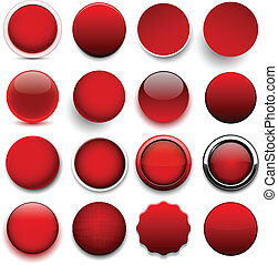 Round red icons. - Set of blank red round buttons for ...