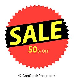 Round red label with yellow text about fifty percent sale.