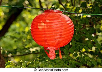 Round red lantern on Buddha's birthday
