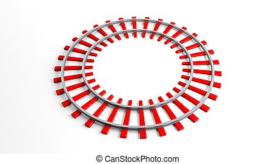 Round red railway track, isolated on white background