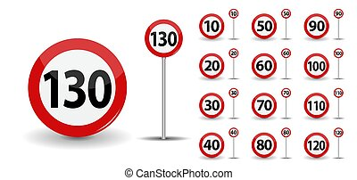 Round Red Road Sign Speed limit 10-130 kilometers per hour. Vector Illustration.