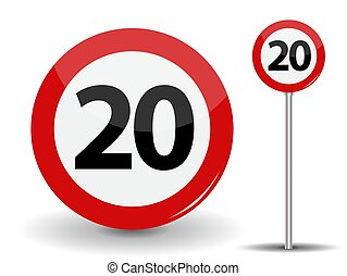 Round Red Road Sign Speed limit 20 kilometers per hour. Vector Illustration.