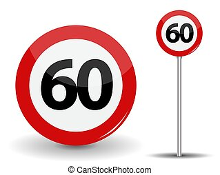 Round Red Road Sign Speed limit 60 kilometers per hour. Vector Illustration.