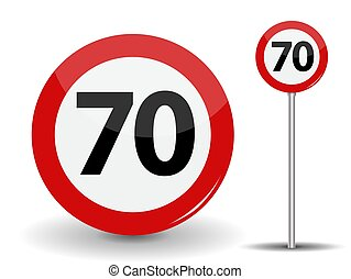 Round Red Road Sign Speed limit 70 kilometers per hour. Vector Illustration.