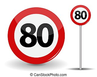 Round Red Road Sign Speed limit 80 kilometers per hour. Vector Illustration.