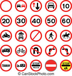 Round Red Road Signs