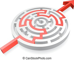 A 3D rounded, thick walled Maze, solved by a red line ending with an Arrow