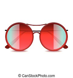 Round red sunglasses isolated on white vector