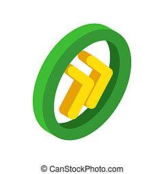 Round rewind button isometric 3d icon