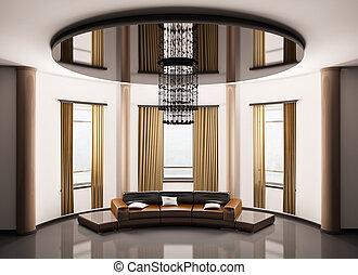 Round room interior 3d - Round room with round brown sofa ...